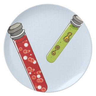 Two test tubes red blood cells virus plate
