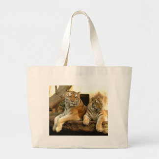 Two Tigers Large Tote Bag