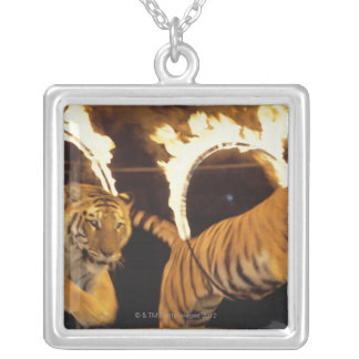 Two tigers leaping through burning rings of fire silver plated necklace