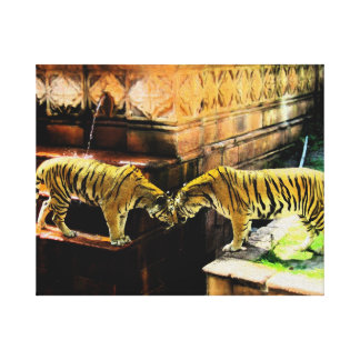 Two Tigers Oil Painting Effect Canvas Prints