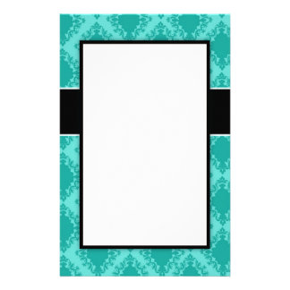 two tone aqua blue diamond damask design personalized stationery
