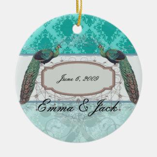 two tone blue aqua diamond damask christmas ornament