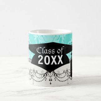 two tone blue damask graduation basic white mug