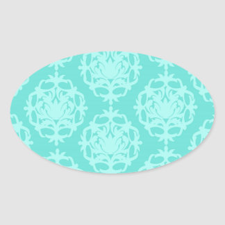 two tone blue damask oval sticker
