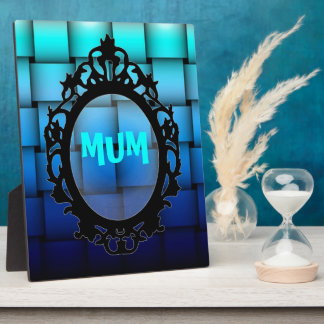 Two Tone Blue Plaided Mum Plaque