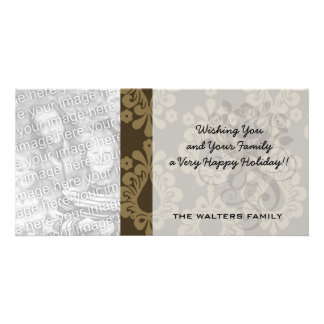 two tone brown tan devine damask pattern photo card template
