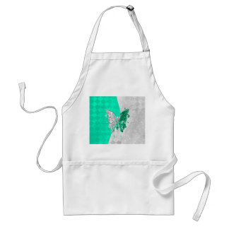 Two Tone Butterfly in White and Teal Aprons