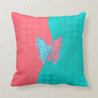 Two Tone Butterfly Pink and Teal Cushion