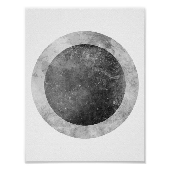 Two tone Circle Grey and Black Poster