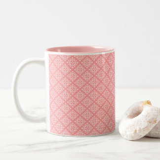 Two Tone Coffee Mug Coral/white design OP1027