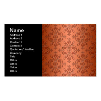Two Tone Copper Orange Damask Pack Of Standard Business Cards