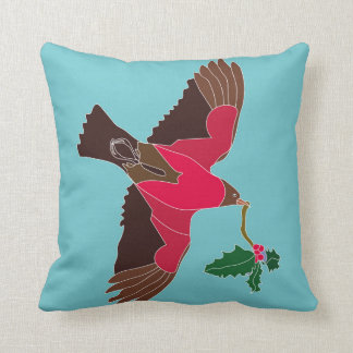 Two tone cushion with flying robin coming home