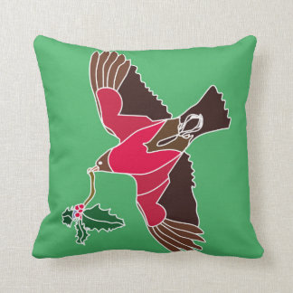 Two tone cushion with robin flying home