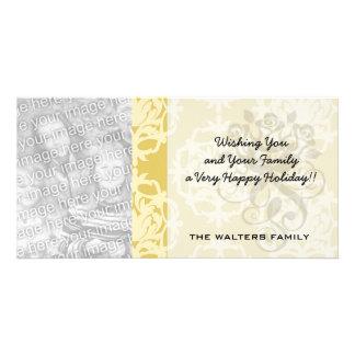 two tone gold royale damask pattern photo greeting card