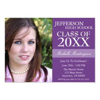 Two-Tone Graduation Invitations (Purple)