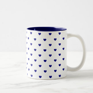 Two-Tone Mug Navy Blue Hearts Patterned