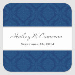 Two Tone Navy Blue Damask  Wedding V16