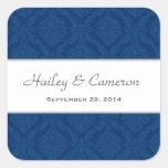 Two Tone Navy Blue Damask  Wedding V16 Square Sticker