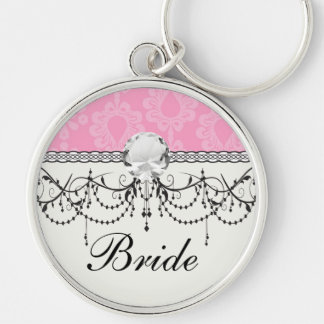 two tone pastel pink floral damask pattern Silver-Colored round key ring