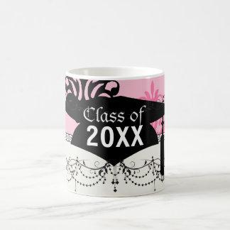 two tone pink and black chic damask graduation coffee mugs