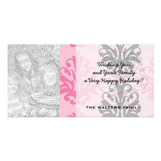 two tone pink and black chic damask photo card