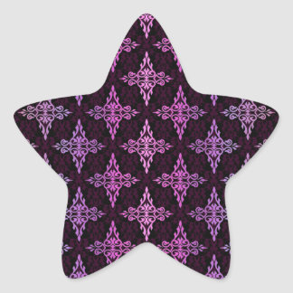 Two Tone Pink and Black Damask Star Stickers
