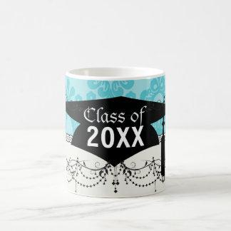 two tone pretty blue floral damask graduation basic white mug