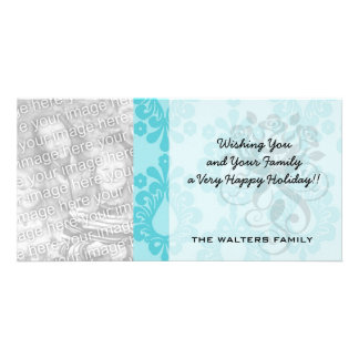 two tone pretty blue flower floral damask custom photo card