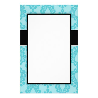 two tone pretty blue flower floral damask design stationery paper