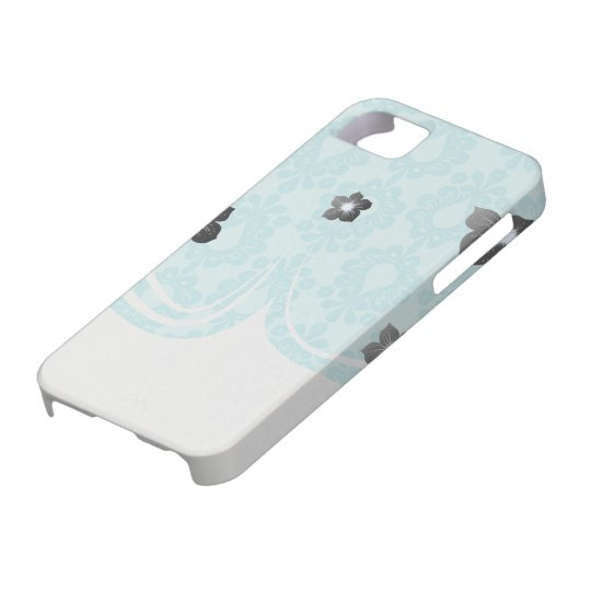 two tone pretty blue flower floral damask iPhone 5 cases