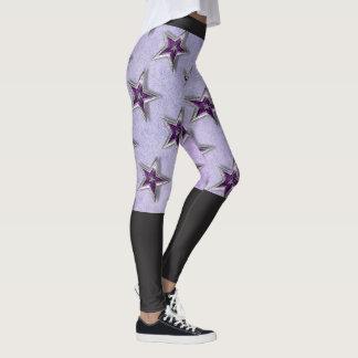 Two-Tone Purple & Black Yoga Leggings