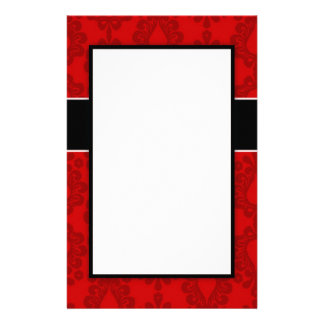 two tone red damask design stationery paper