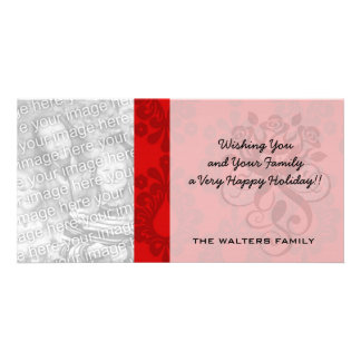 two tone red damask photo card template