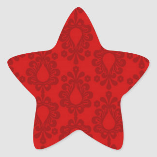 two tone red damask star sticker
