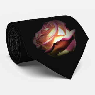 Two Tone Red Rose on Black Tie