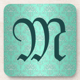 Two Tone Teal Turquoise Damask Coasters
