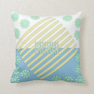 Two Tone White, Blue, Green and Gold Throw Pillow
