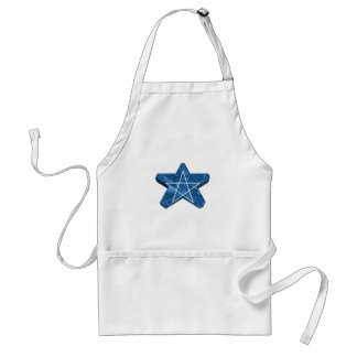 Two toned blue and white 3d pentagram gear apron