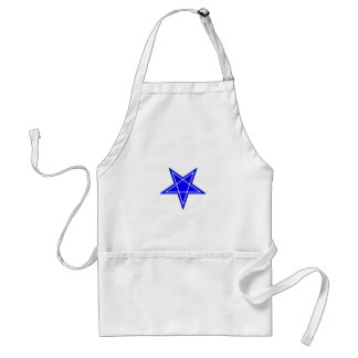 Two toned blue and white inverted pentagram gear standard apron