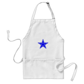 Two toned blue and white pentagram gear aprons