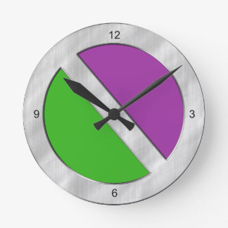 Two-Toned Green and Purple Wall Clock