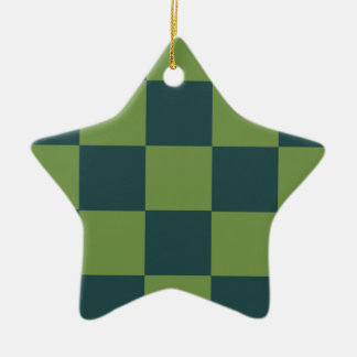 Two Toned Green Checkerboard Christmas Ornament