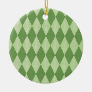 Two Toned Green Harlequins Round Ceramic Decoration