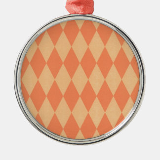 Two Toned Orange Harlequins Silver-Colored Round Decoration