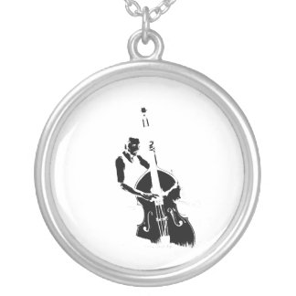 Two Toned Upright Bass Player Outline BW Silver Plated Necklace