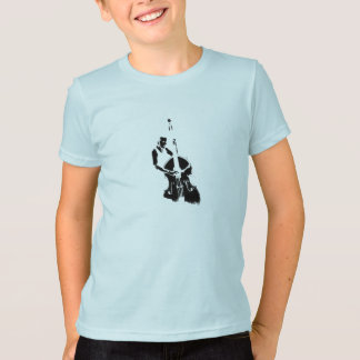 Two Toned Upright Bass Player Outline BW T Shirts