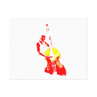 Two Toned Upright Bass Player Outline Red yellow Canvas Print