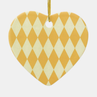 Two Toned Yellow Harlequins Ceramic Heart Decoration