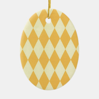 Two Toned Yellow Harlequins Ceramic Oval Decoration