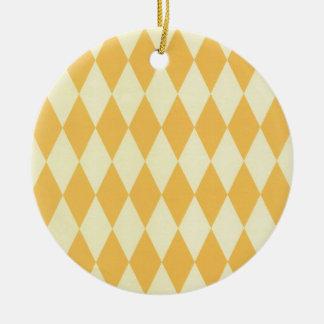 Two Toned Yellow Harlequins Round Ceramic Decoration